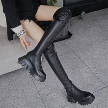 Motorcycle Boots Platform-Heels Over-The-Knee Fashion-Design Women Ladies Round MILI-MIYA