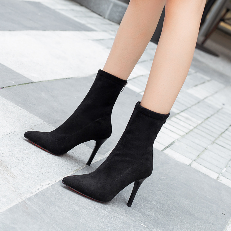 Martin Socks Boots Mouth Thin Small Heel Short Boots Women's Boots 2019 New Style Versatile Spring, Autumn And Winter Boots Brit
