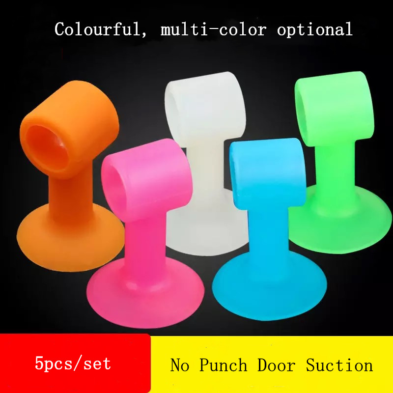 5Pcs/Lot Soft Silicone Anti-Collision Door Protective Pads Suction Cup Type Cabinet Door Handle Lock Silencer Fender