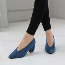 Comfortable Cashmere Women's Work Pumps Shoes Korean High Thick Heel Single Shoes Female 2020 New High-heeled V-port Lady Shoes 2017 spring and summer japanned leather thick heel high heeled shoes bow ol formal work shoes female black with the single shoes