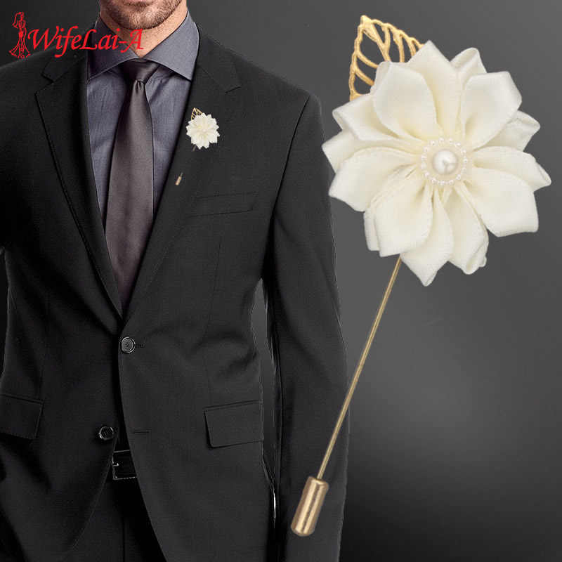 Romantic Ivory Satin Silk Rose Ceremony Flower Man Lapel Pin Corsage Groom Boutonniere Brooch For Wedding Prom Decoration XH889P
