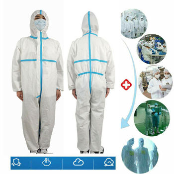Hazmat Suit Protection White Clothing Safety Coverall Disposable Isolation Washable Factory Hospital Safety Clothing