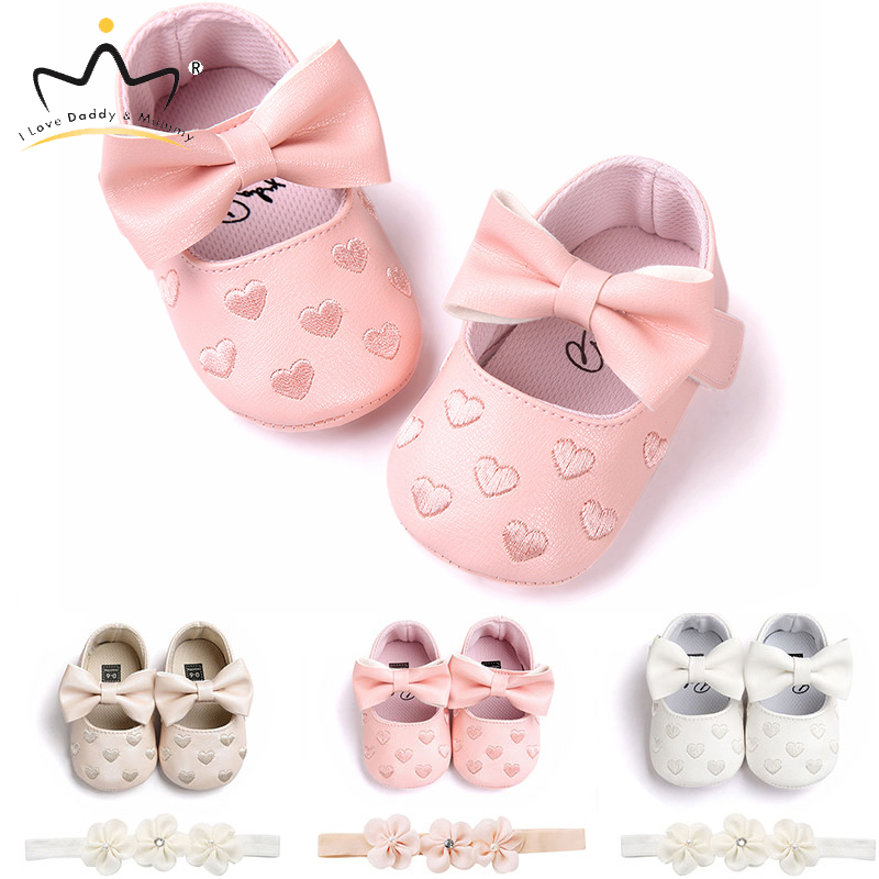 New Pink Bowknot Princess Baby Girl Shoes Headband Set PU Leatherr Soft Cotton Anti Slip Toddler Shoes Girls Summer Baby Shoes