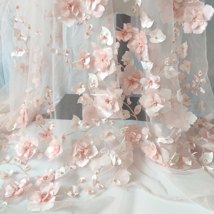 2021 nouveau 3D trois dimensions perlée fleur jupe robe de mariée maille dentelle tissu couture
