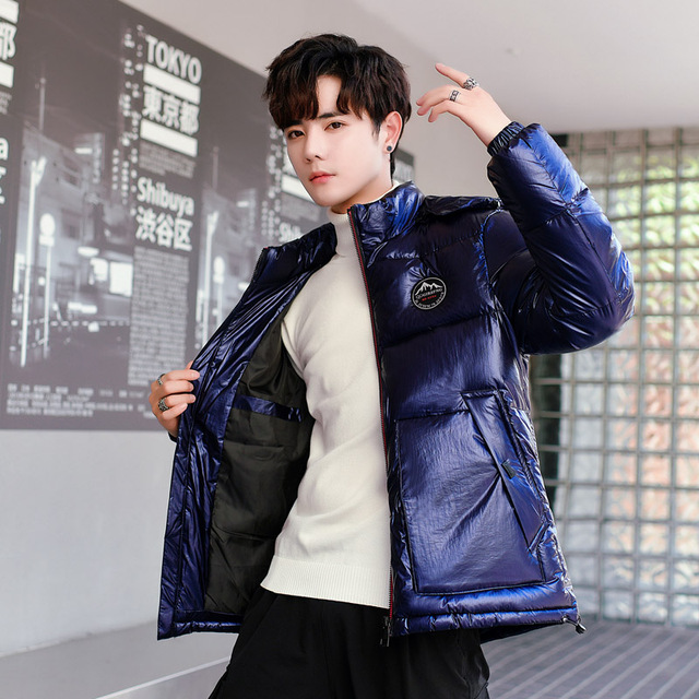 Argent brillant veste manteau homme hiver chaud épais vers le bas coton rembourré court Parkas pain Style mode hommes Bomber vêtements à capuche