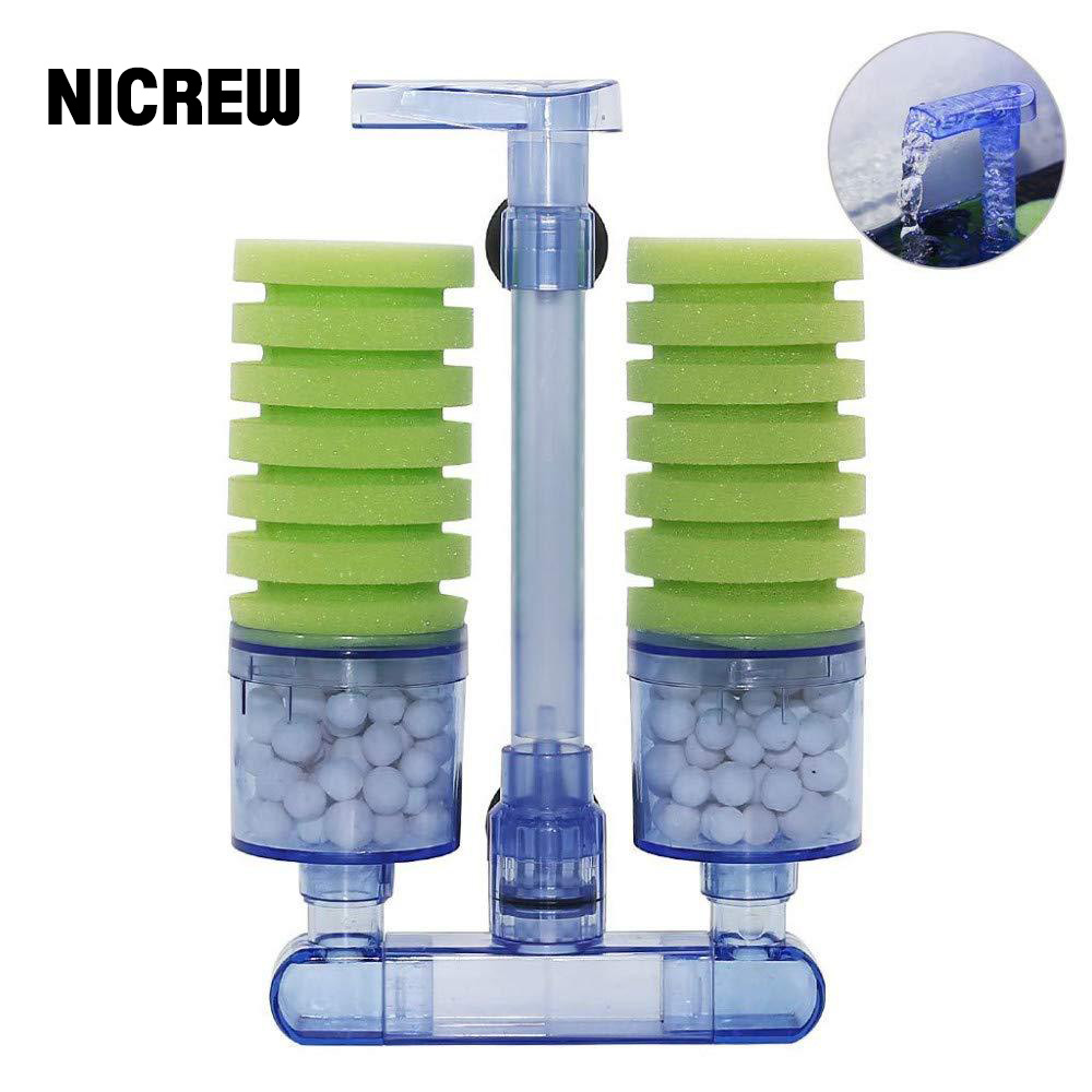 NICREW Aquarium Sponge Filter Ultra Quiet Fish Tank Biochemical Sponge Filter Air Pump Water Fall Double Foam Sponge Filters