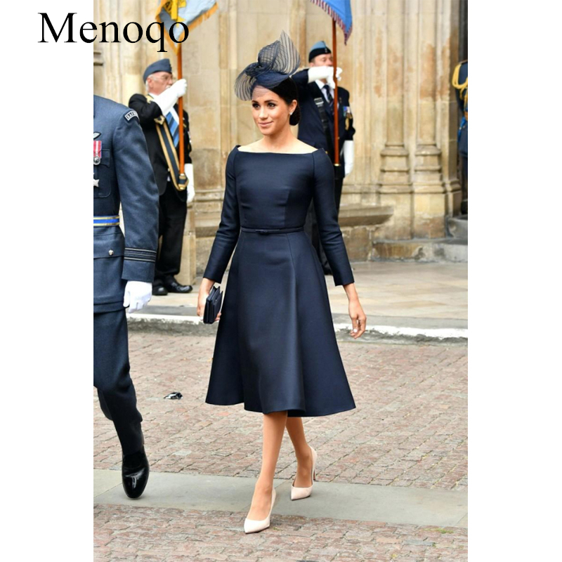 Menoqo 2020 Mother Of The Bride Dress Navy Elegant Satin A Line Full Sleeves Bateau With Sash Knee Length Short P50AU16
