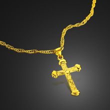 Jesus Christ to the cross pendant necklace.Golden chain necklace women.Ancient Christian gifts.Golden jewelry wholesale