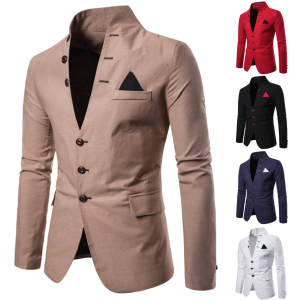 Jacket Blazer Suit Neck-Coat Slim-Fit Long-Sleeve Autumn Men's Casual Winter Fashion