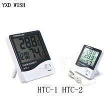 Estação meteorológica HTC-2/HTC-1 termômetro ao ar livre indoor higrômetro digital lcd c/f temperatura medidor de umidade com despertador