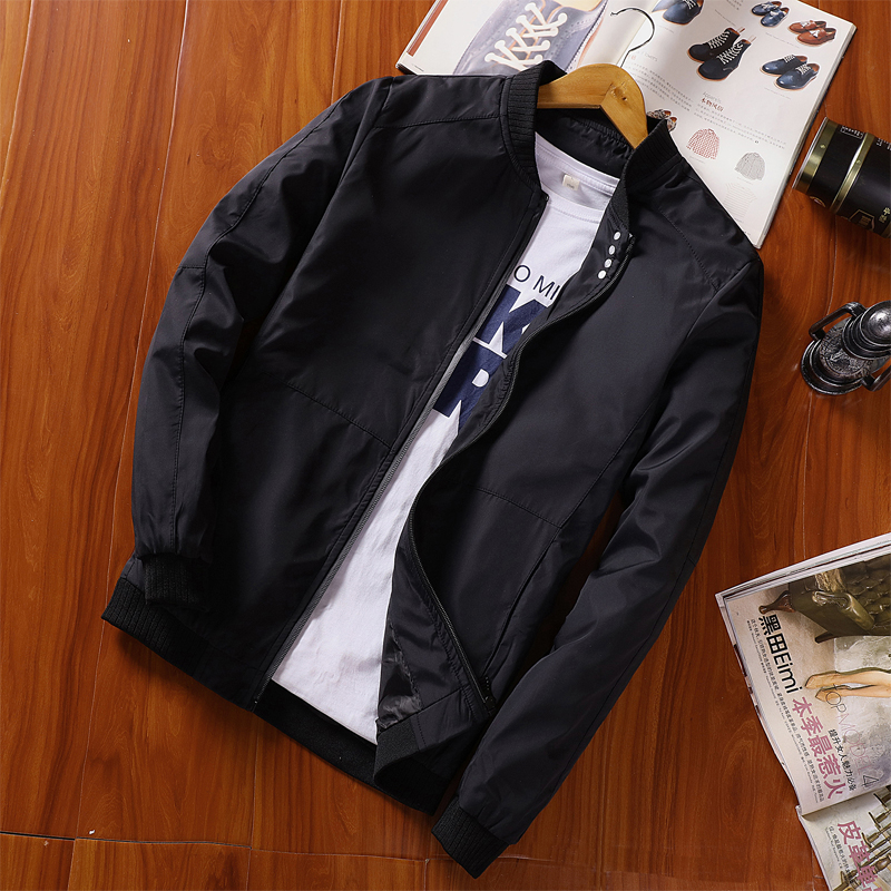 Autumn Mens Jacket Windbreaker Male Black Baseball Jackets Casual Thin High Quality Streetwear Coats Plus Size M-4XL ,GA452