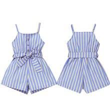 Crianças da criança do bebê meninas listrado um pedaço macacão playsuit roupas verão