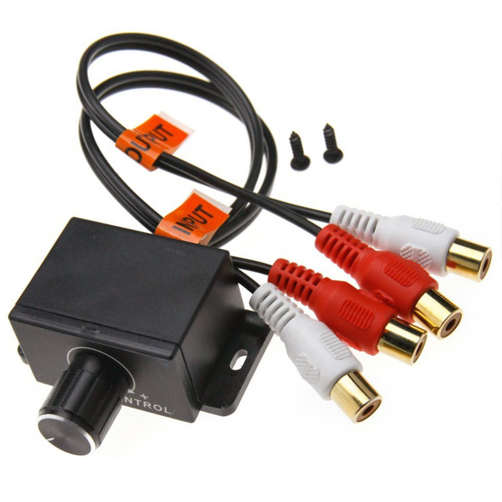 Universal Car Amplifier Bass RCA Gain Level Volume Control Knob Regulator Potentiometer 2RCA Input 2RCA Output For Car