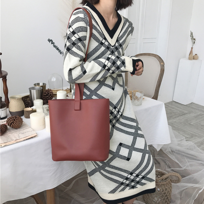 Geometric Plaid Sweater Dresses Women Long Sleeve V Neck Casual Loose Knitted Dress Autumn Winter Warm Clothes Female Dress
