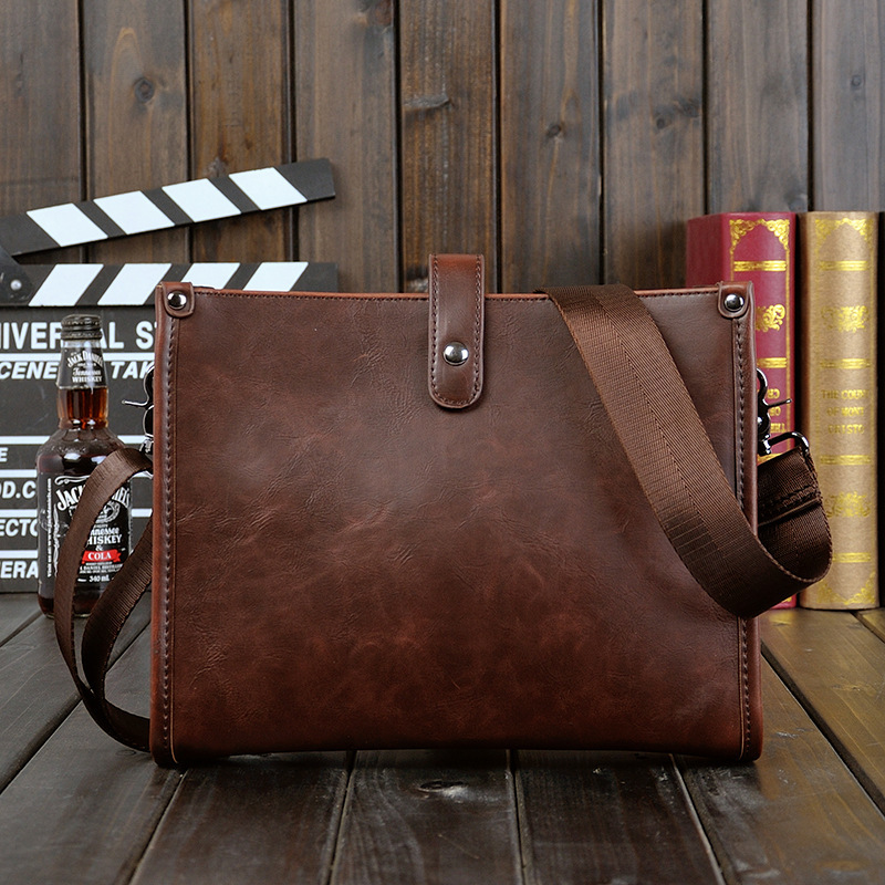 Men's Business Office Briefcase Brand PU Leather Shoulder Bag Solid Vintage Messenger Bags Male Small Crossbody Bags Casual Tote