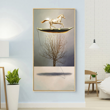 Golden Boat Modern Canvas Painting Minimalist Horse Poster Print Nordic Wall Art Picture Living Room Decor