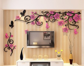 DIY Removable Vinyl Flower Wall Sticker Modern Decals For Wall Decor TV Background Decoration Mural Wallpaper For Living Room 18