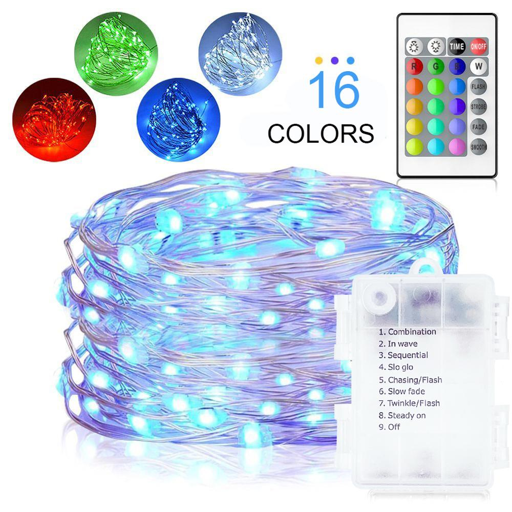 5M Remote Control Four Waterproof Xmas Lights LED String RGB 16 Color Copper Wire Outdoor Wedding Party Christmas Decor