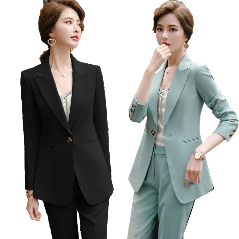 New 2020 Green Female Formal Elegant Women Office Lady Pant Suits Of Business OL Blazer Suit Jackets Long Trouser 2 Pieces Set