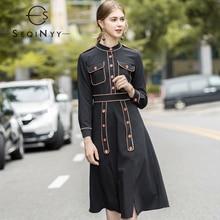 SEQINYY Black Dress 2020 Autumn Winter New Fashion Design Buttons High Quality A-line Women Elegant Knee
