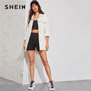 Image 4 - SHEIN blanco lavado con cinturón chaqueta de mezclilla abrigo mujer otoño primavera Turn down Collar sólido abotonado Casual chaquetas Outwear
