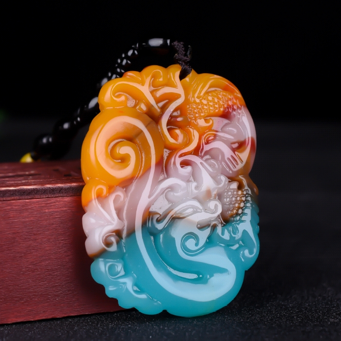 Colorful Jade Dragon Phoenix Jade Pendant Necklace Jewellery Chinese Hand-Carved Relax Healing Women Man Luck Gift Amulet New