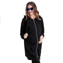 Fashion Womens Pregnancy Coat Plus Velvet Thickening Hooded Cartoon Shirt Maternity Dress Long-sleeved Cardigan Clothing