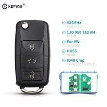 KEYYOU-mando a distancia de coche inteligente plegable, 3 botones, Chip ID48 para VW Volkswagen PASSAT Polo Skoda Seat 1J0959753AH 434Mhz
