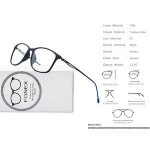 Image 5 - FONEX TR90 Alloy Optical Glasses Frame Men Full Rim Square Myopia Eye Glass for Men Prescription Eyeglasses Screwless Eyewear