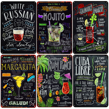 Stickers Tin-Signs Martini Wall-Decor Tiki-Bar Mojito OPEN CUBA BEER Plaque Pub N082