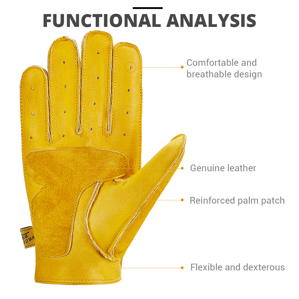 Image 4 - New Genuine Sheepskin Leather Motorcycle Gloves Men Vintage Motorbike Full Finger Gloves Retro Biker Touchscreen Moto Gloves-in Gloves from Automobiles & Motorcycles