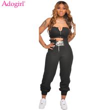 Adogirl Solid Women Casual Two Piece Set Zipper Tube Top Lac