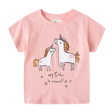 Unicorn Girls T shirt Cartoon Cute Animals Print Summer Children Clothes Baby Toddler Girls Cotoon Top Tees Baby Girls Clothes girls cartoon and letter print top