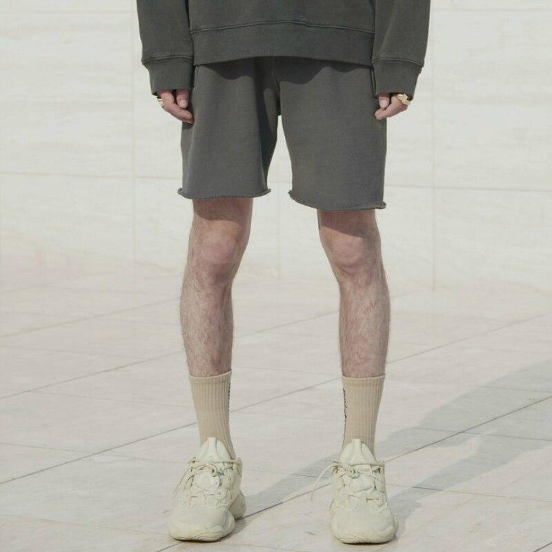 Kanye West Heavy Cotton Fleece Sweat Shorts Washed Grey Casual Streetwear Zipped Pockets