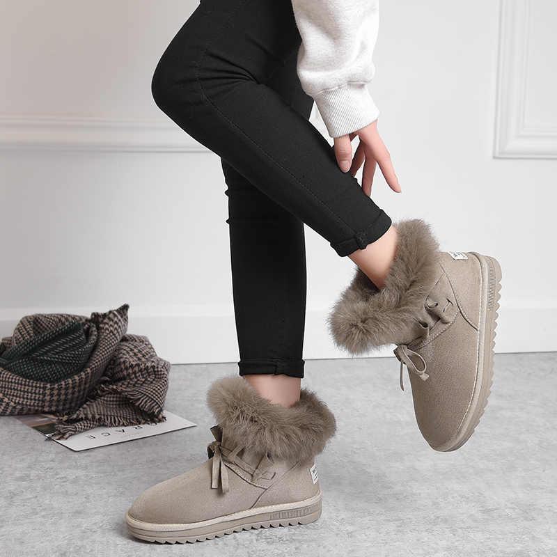รองเท้าผู้หญิง Flock ฤดูหนาวรองเท้าอุ่นสีดำรอบ Toe Casual ผู้หญิงหิมะรองเท้า Non-slip และ Wearproof 2019 ใหม่มาถึง