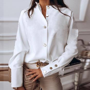 Przycisk z długim rękawem bluzka kobiety jesień zima pojedyncze piersi stojak koszule kołnierzykowe bluzka do pracy biurowej drukuj bluzka Vintage koszule tanie i dobre opinie Lipswag CN (pochodzenie) COTTON POLIESTER REGULAR guzik Jesień 2021 STANDARD Sukno Na wiosnę jesień Proste 01671 WOMEN