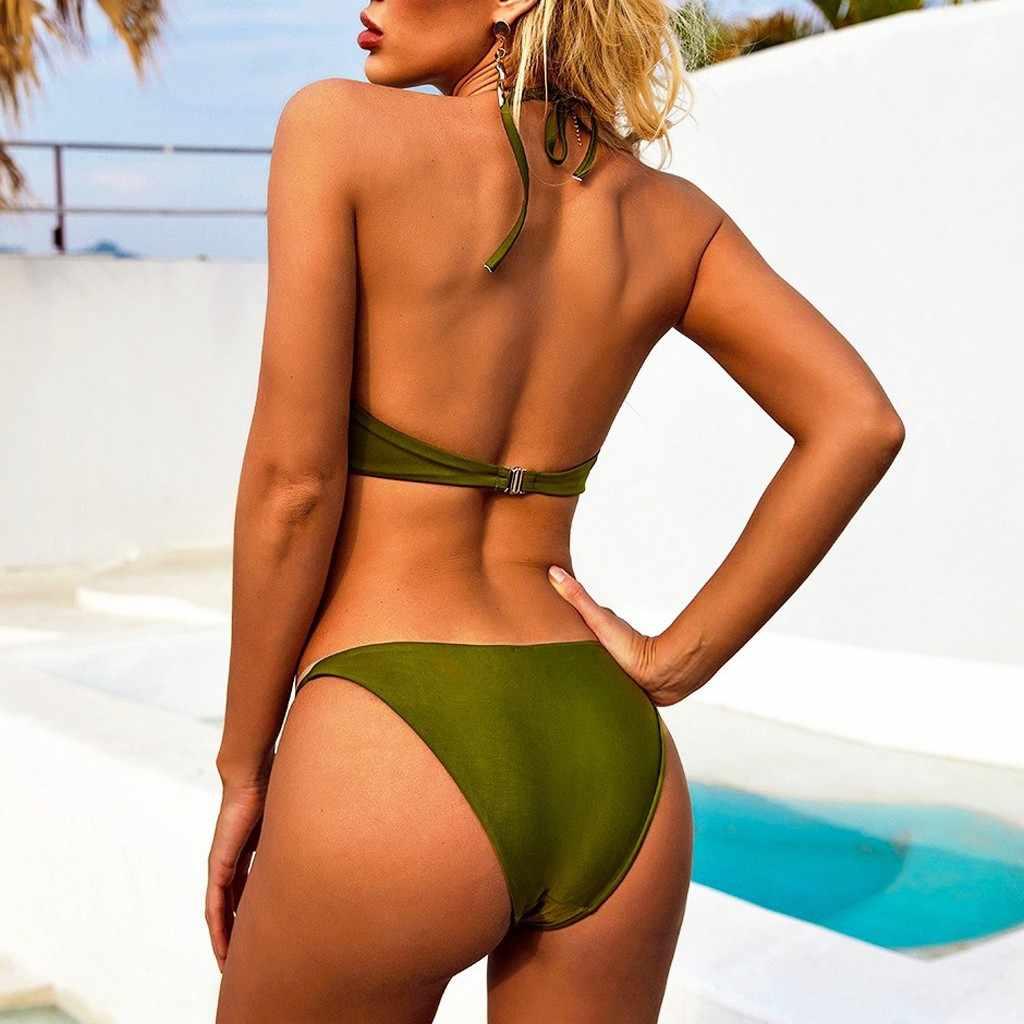 Vrouwen Bikini Set Badmode Soild Diepe V Hemdje Badpak Push Up Beachsuit Купальник Женский Badpak Tankini Badmode Vrouwen