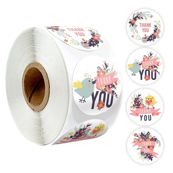 500Pcs Animal Thank You Stickers Seal Labels Pink Flower Cute Stickers for Envelope Seal Labels Scrapbooking Stationery Stickers 500pcs animal reward stickers with 8 cute thank you stickers seal lables for kidsback to school gift kindergarten toys sticker