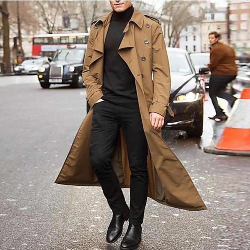 Yeni trençkot erkekler 2020 ceket erkek palto rahat Slim Fit rüzgarlık artı boyutu katı uzun ceket erkekler moda kış palto Homme