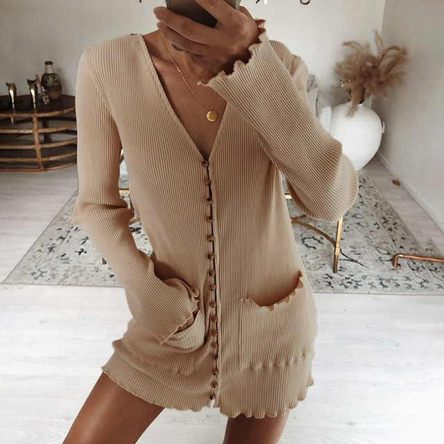 Women Street Fashion V Neck Single Breasted Casual Knitted Dress 2019 Autumn Winter Long Sleeve Ruched Pockets Mini Vestidos 1