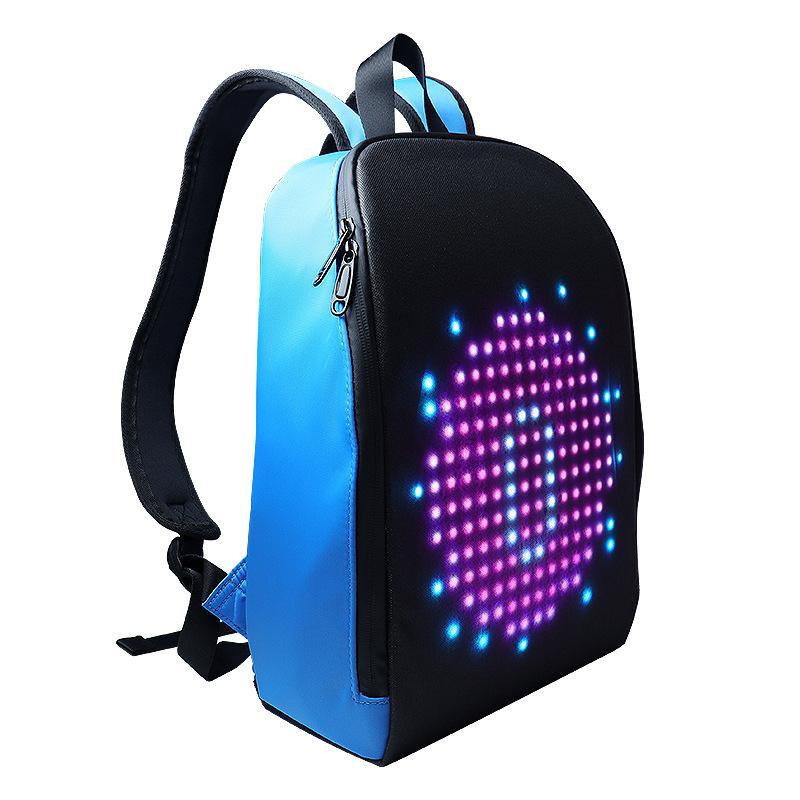 Nova luz de publicidade display led mochila inteligente versão wifi app controle diy ao ar livre tela led andando outdoor mochila