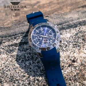 Image 5 - Бригада мужские часы кварцевые оранжевые часы 5bar Водонепроницаемый Топ Роскошные Брендовые Часы для мужчин AAA светящийся силиконовые спортивные наручные часы