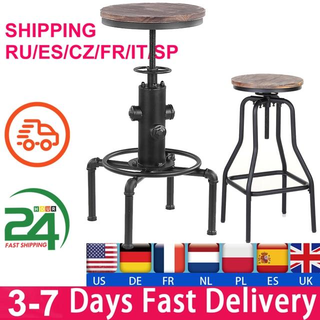 iKayaa Kitchen Furniture Bar Stool Bar Chairs Metal Industrial Stool Height Adjustable Swivel Pinewood Top Pipe Style Barstool