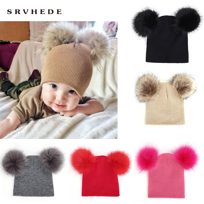 2019 New Free ShippingBaby Hat Knitted Winter Pom Pom Children Hat For Boys Girs Pom Beanies Baby Cute Cotton Cap Warm Baby Hat