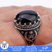 925 Sterling Silver Men Ring with Oval Black Natural Stone Rings for Men Lucky Grass Symmetry Fashion Punk Jewelry