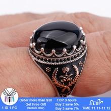 925 Sterling Zilveren Heren Ring Met Ovale Zwarte Natuursteen Ringen Voor Mannen Geluk Gras Symmetrie Fashion Punk Sieraden