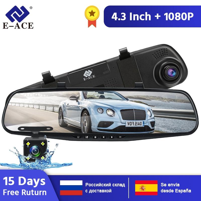 E-ACE Auto Dvr Kamera FHD 1080P Dash Cam 4,3 Inch Rückspiegel Video Recorder Mit Rückansicht Kamera Camcorder auto Kanzler