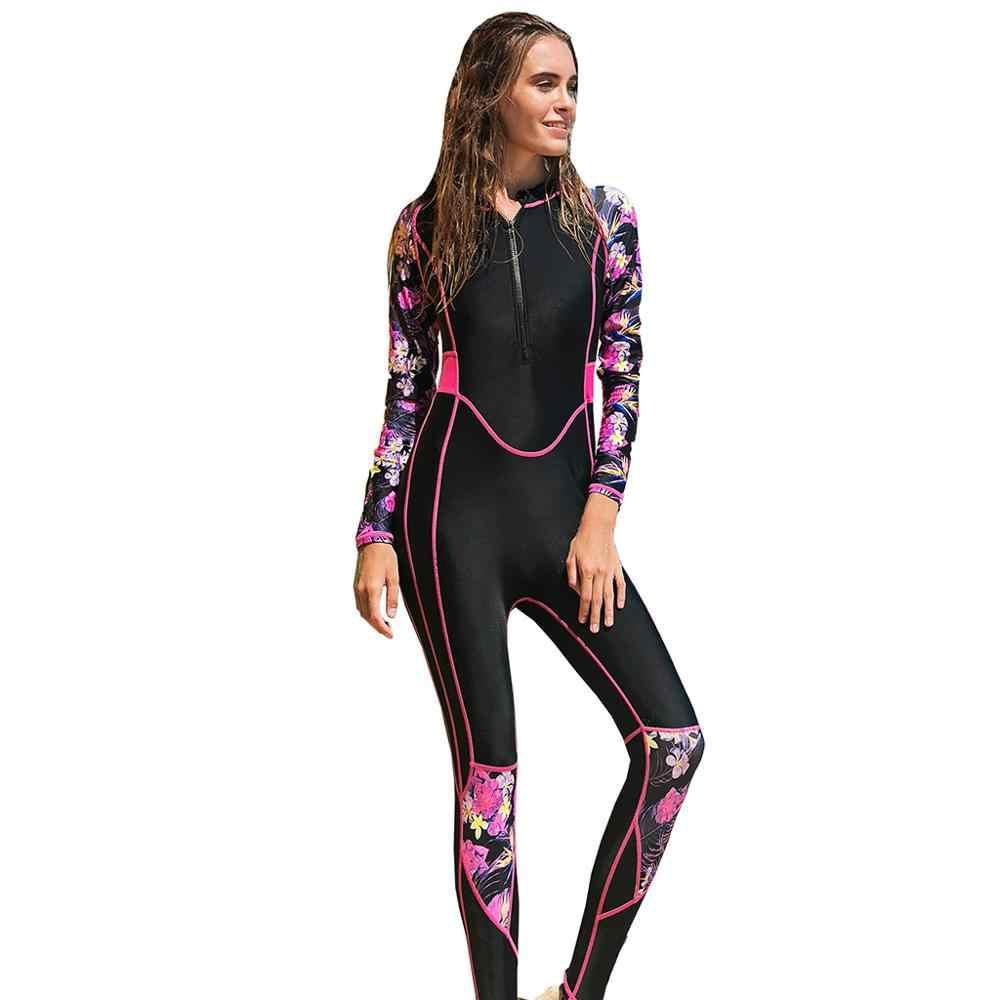 Kadın spearfishing 2.55mm Tek parça wetsuits Spandex tek parça tüplü ücretsiz dalgıç giysisi kadınlar için mayo kollu 2019 f3