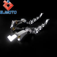 Chrome Motorcycle Skull Brake Clutch Levers For Harley Sportster XL 883 1200 2004 2015 Forty Eight Seventy Two Iron 883 SuperLow