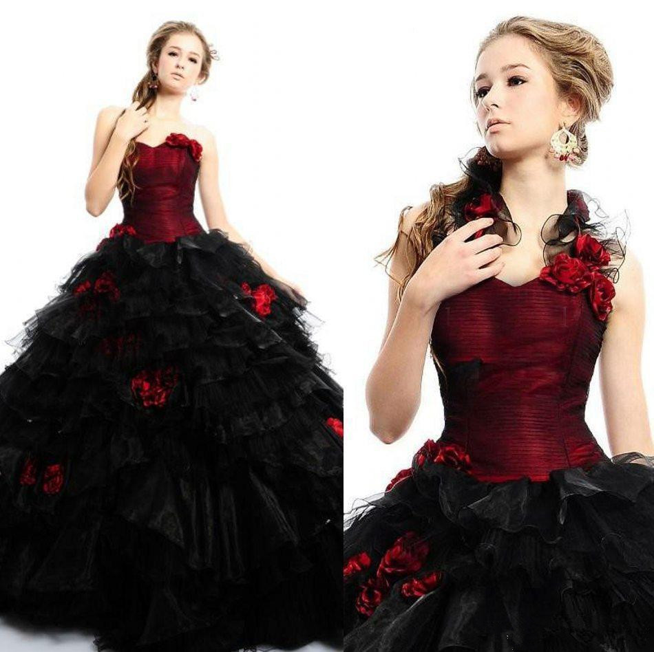 2019 Vintage Gothic Wedding Dresses Sweetheart Red And Black Victorian Ball Gown Wedding Gowns Occasion Gown Robe De Mariee